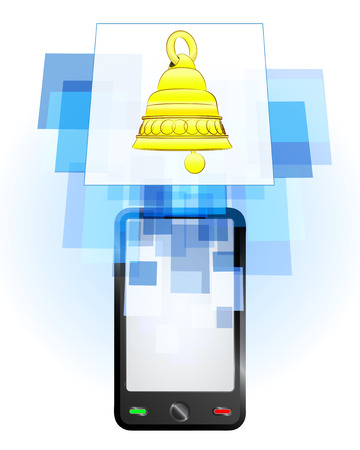 telecomunication: golden bell in mobile phone communication frame vector illustration Illustration
