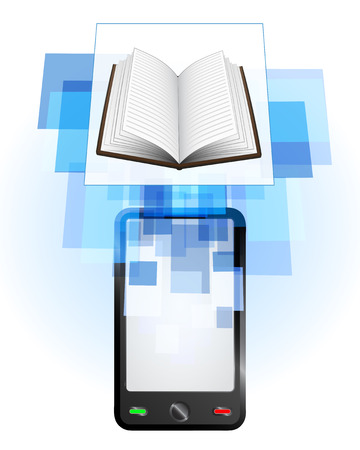 telecomunication: open book in mobile phone communication frame vector illustration
