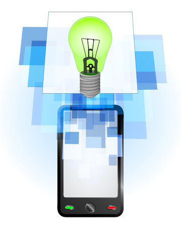 telecomunication: green lightbulb in mobile phone communication frame vector illustration
