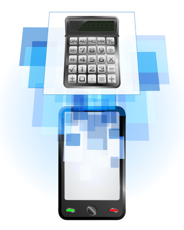 telecomunication: calculator in mobile phone communication frame vector illustration