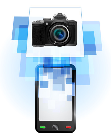 telecomunication: new camera in mobile phone communication frame vector illustration