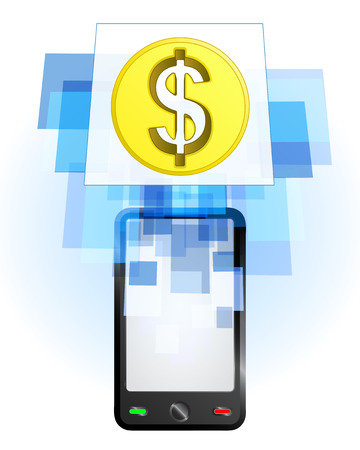 telecomunication: Dollar coin in mobile phone communication frame vector illustration Illustration