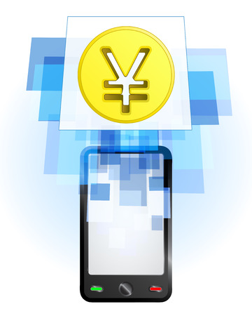 Yuan coin in mobile phone communication frame vector illustration