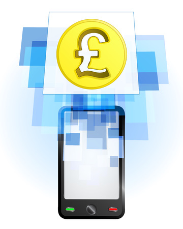 telecomunication: Pound coin in mobile phone communication frame vector illustration