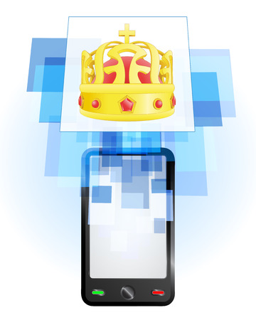 telecomunication: royal crown in mobile phone communication frame vector illustration