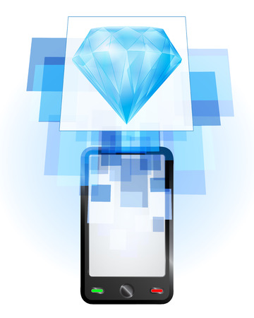 telecomunication: blue diamond in mobile phone communication frame vector illustration Illustration