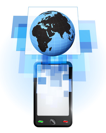 telecomunication: Africa world globe in mobile phone communication frame vector illustration
