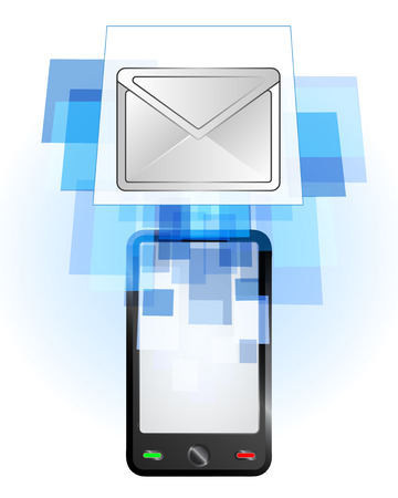 telecomunication: email message in mobile phone communication frame vector illustration