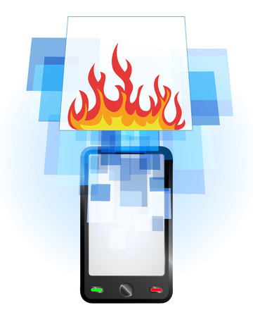 telecomunication: open fire in mobile phone communication frame vector illustration