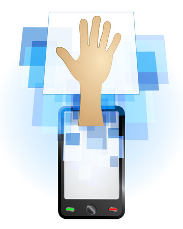 telecomunication: human hand in mobile phone communication frame vector illustration Illustration