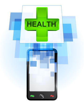 telecomunication: health cross in mobile phone communication frame vector illustration