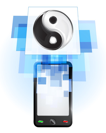 harmony icon in mobile phone communication frame vector illustration