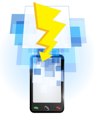 telecomunication: lightning in mobile phone communication frame vector illustration Illustration