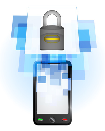 telecomunication: padlock in mobile phone communication frame vector illustration