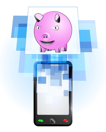 telecomunication: happy pig in mobile phone communication frame vector illustration