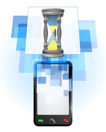 telecomunication: sandglass in mobile phone communication frame vector illustration Illustration