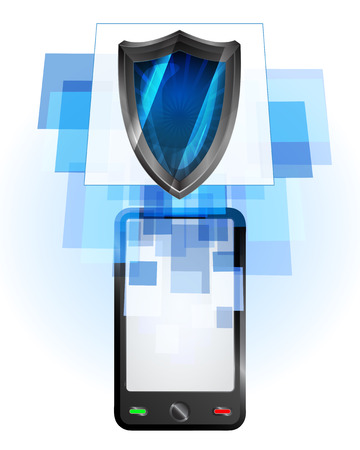 telecomunication: shield in mobile phone communication frame vector illustration Illustration