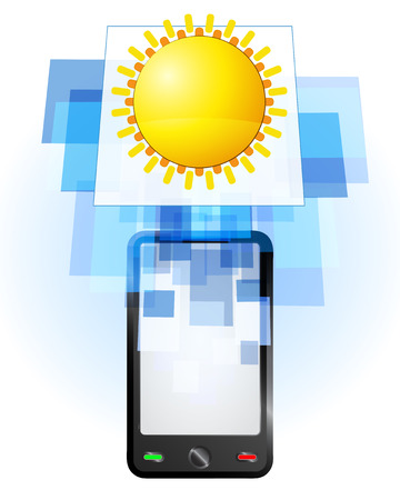 telecomunication: summer sun in mobile phone communication frame vector illustration Illustration