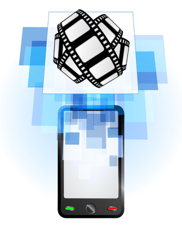telecomunication: movie tape in mobile phone communication frame vector illustration