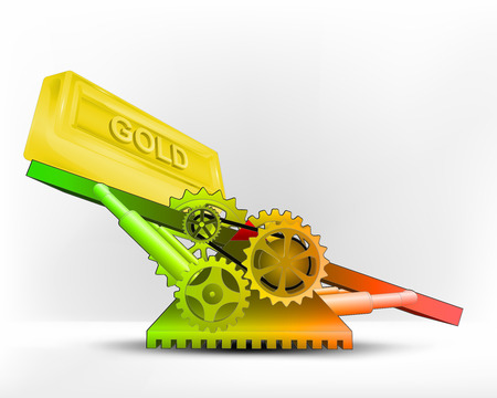 commodity: golden bar in green area on swing machine concept vector illustration
