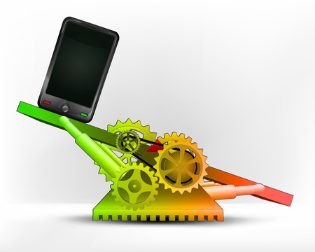 new smart phone in green area on swing machine concept vector illustration Vector