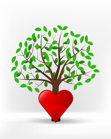 red heart in front of green leafy tree vector illustration Vector