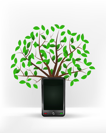 new smart phone in front of green leafy tree vector illustration Vector