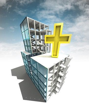 holy concept of architectural building plan with sky illustration illustration