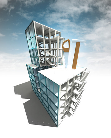 dyi: improvement concept of architectural building plan with sky illustration Stock Photo