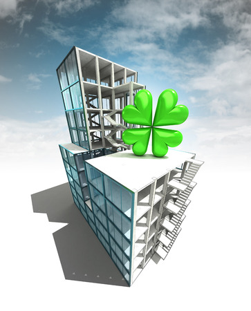 felicity: happiness concept of architectural building plan with sky illustration