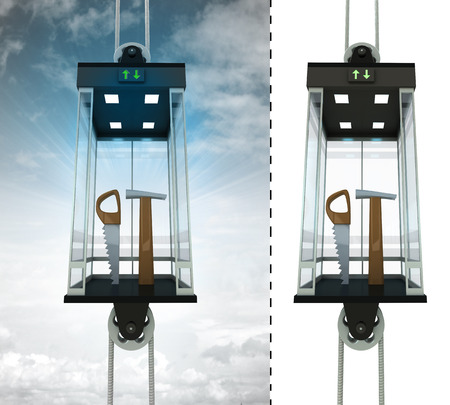 dyi: manual tools in sky elevator concept also isolated one illustration