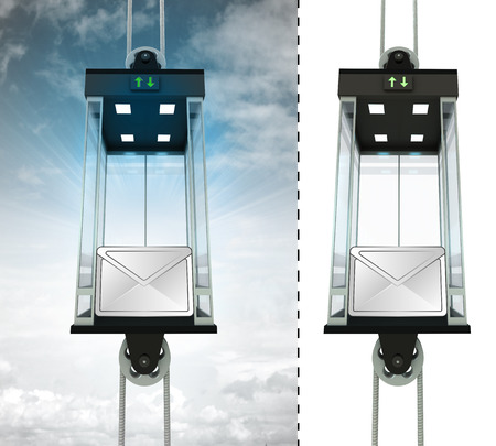 email message in sky elevator concept also isolated one illustration