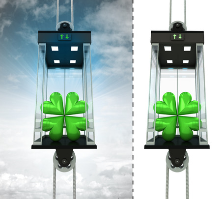 felicity: cloverleaf happiness in sky elevator concept also isolated one illustration