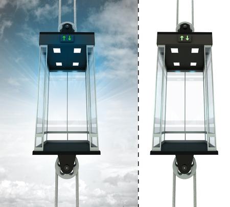 고립 된 엘리베이터 일러스트와 함께 빈 하늘 엘리베이터 개념