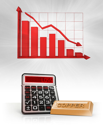 copper merchandise with negative business calculations and graph illustration illustration