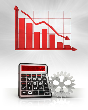 industrial cogwheel with negative business calculations and graph illustration illustration