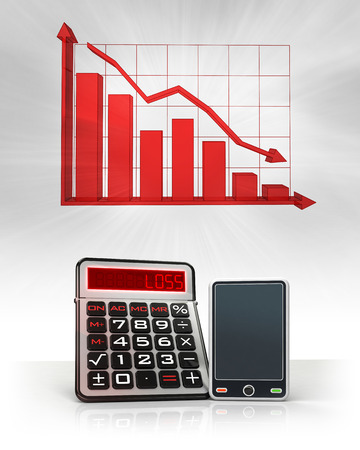 new smart phone with negative business calculations and graph illustration illustration