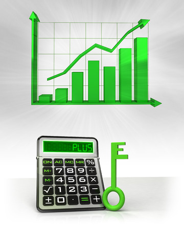 green key to positive business calculations with graph illustration illustration