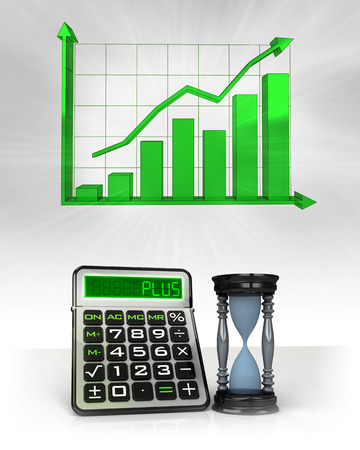 hourglass with positive business calculations with graph illustration illustration