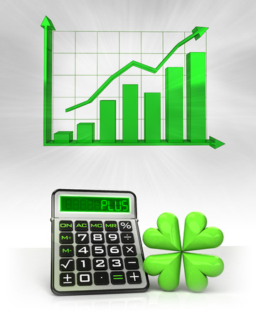 happiness icon with positive business calculations with graph illustration Stock Photo