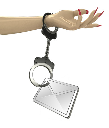 send to prison: email message attached with chain to human hand illustration Stock Photo