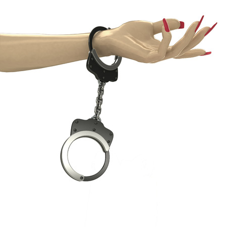 attached chain to human hand isolated illustration