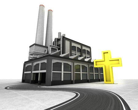 golden cross with factory supply road concept illustration illustration