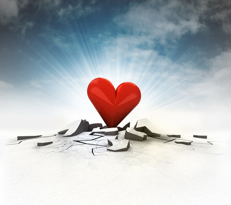 cleft: red heart stuck into ground with flare and sky illustration