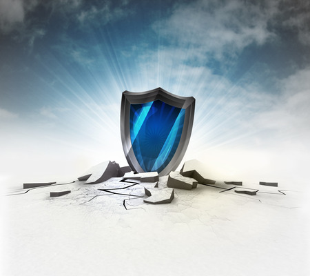 security shield stuck into ground with flare and sky illustration Stock Photo