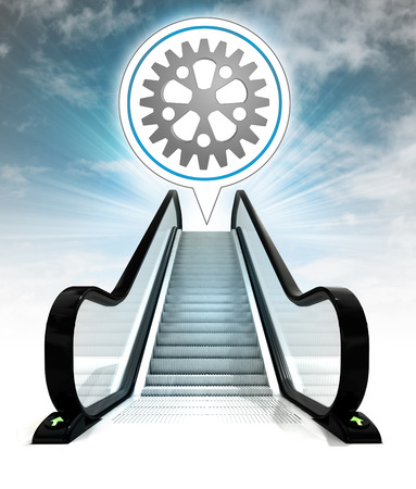 industrial cogwheel in bubble above escalator leading to sky\ concept illustration