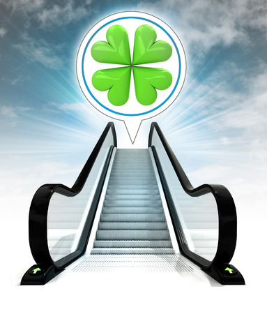 felicity: in bubble above escalator leading to sky concept illustration Stock Photo