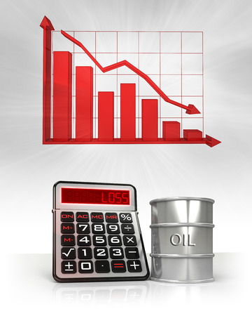 commodity: oil barrel with negative business calculations and graph illustration