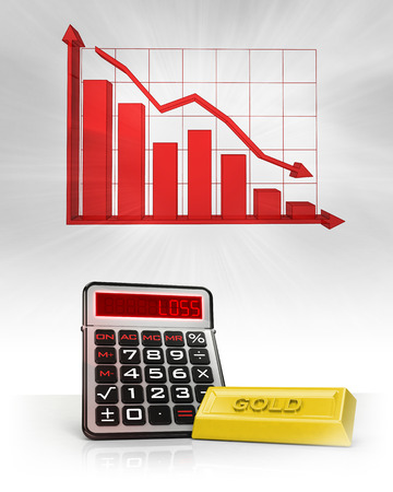 gold merchandise with negative business calculations and graph illustration illustration