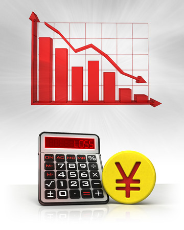 Yuan golden coin with negative business calculations and graph illustration illustration